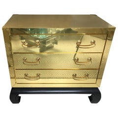 Mid-Century Modern Brass and Lacquer Wood Campaign Chest