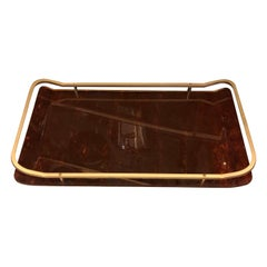 Mid-Century Modern Brass and Lucite Italian Tray, circa 1960