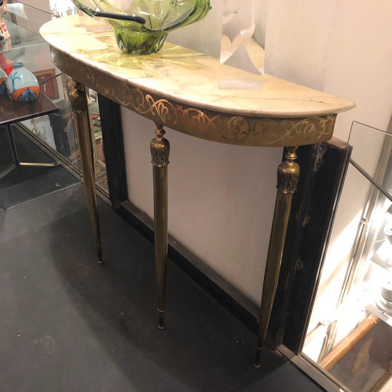 Mid-Century Modern Brass and Marble Italian Console, circa 1960 7