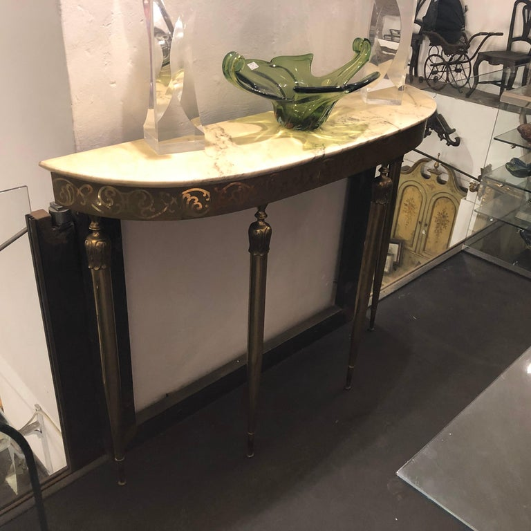Mid-Century Modern Brass and Marble Italian Console, circa 1960 9