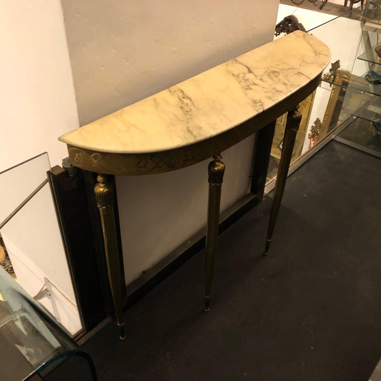 Mid-Century Modern Brass and Marble Italian Console, circa 1960 10