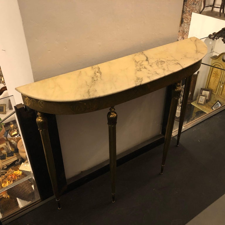 Mid-Century Modern Brass and Marble Italian Console, circa 1960 11