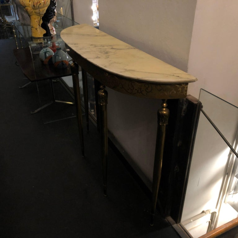 Mid-Century Modern Brass and Marble Italian Console, circa 1960 12