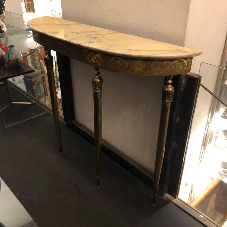 Mid-Century Modern Brass and Marble Italian Console, circa 1960 In Good Condition In Aci Castello, IT