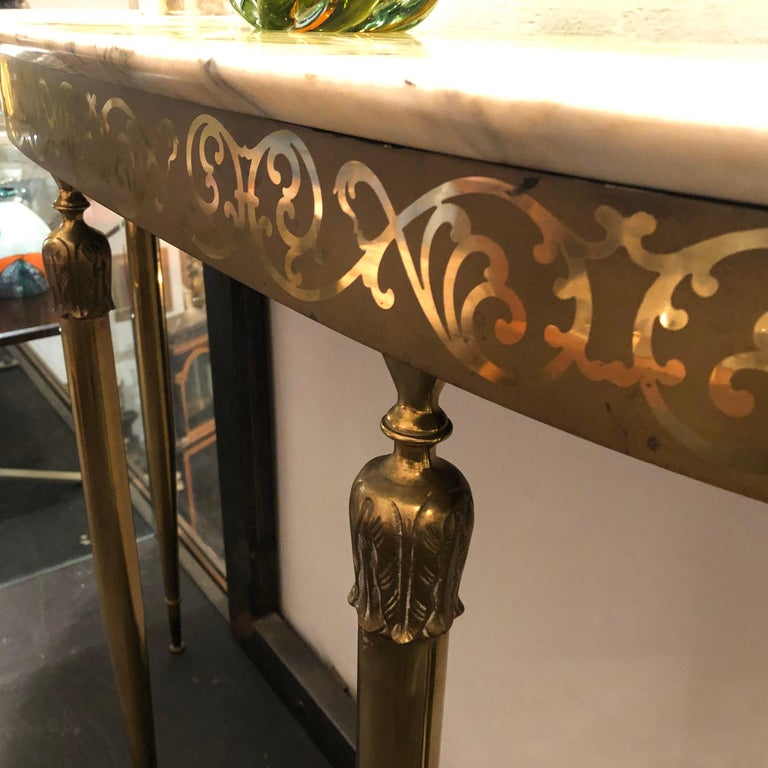 Mid-Century Modern Brass and Marble Italian Console, circa 1960 1
