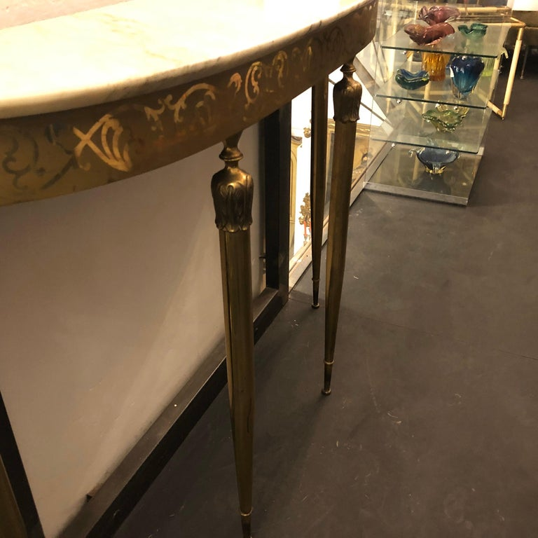 Mid-Century Modern Brass and Marble Italian Console, circa 1960 2