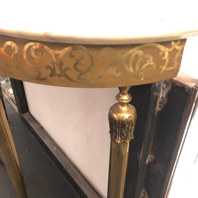 Mid-Century Modern Brass and Marble Italian Console, circa 1960 3