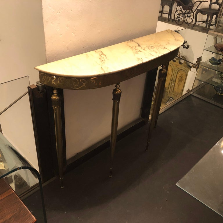 Mid-Century Modern Brass and Marble Italian Console, circa 1960 5