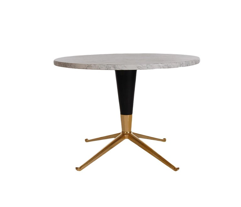 Mid-20th Century Mid-Century Modern Italian Brass & Marble Side Table after Ico Parisi For Sale