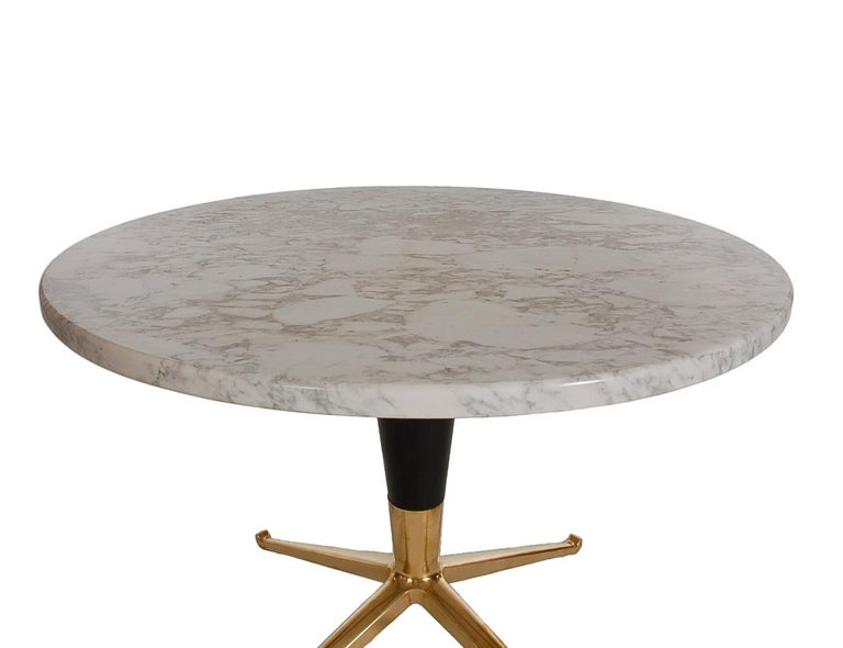 Mid-Century Modern Italian Brass & Marble Side Table after Ico Parisi For Sale 1