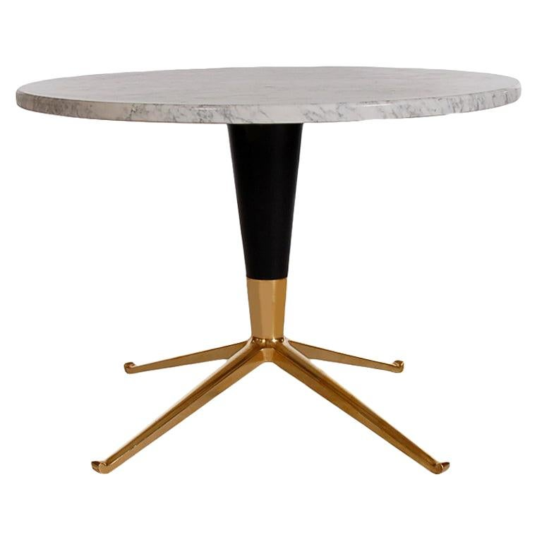 Mid-Century Modern Italian Brass & Marble Side Table after Ico Parisi For Sale