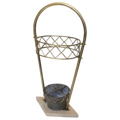 Mid-Century Modern Brass and Marble Umbrella Stand in the Manner of Gio Ponti