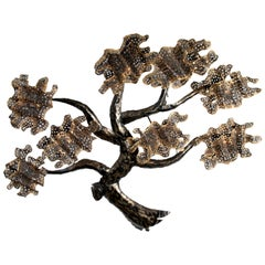 Mid-Century Modern Brass and Metal Tree Wall Art Sculpture