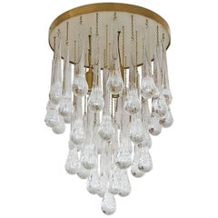 Mid-Century Modern Brass and Murano Clear Glass Drops Flush Mount Ceiling Lights