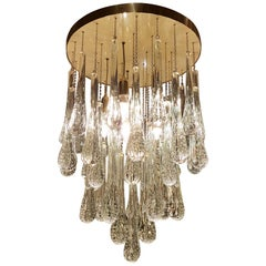 Mid-Century Modern Brass and Murano Clear Glass Drops Flush Mount Light