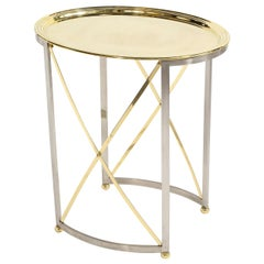 Mid-Century Brass & Nickel Side Table with Removable Tray Top by Maison Jansen