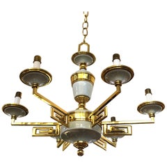 Mid-Century Modern Brass and Porcelain Chandelier in Manner of Tommi Parzinger