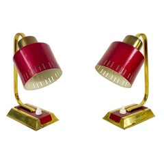 Mid-Century Modern Brass and Red Table Lamp, Pair, 1960s