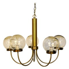 Mid-Century Modern Brass and Smoked Glass Chandelier