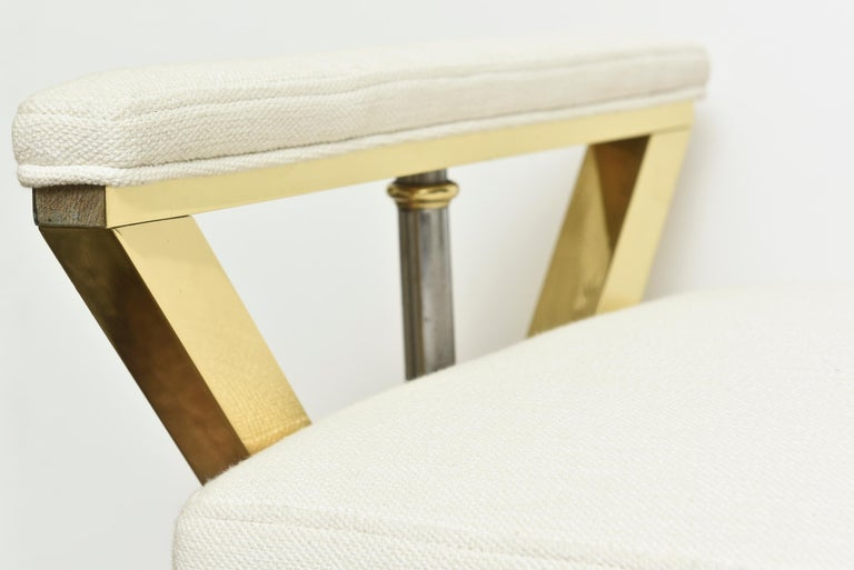 Brass and Steel Upholstered 3-Legged Bench Mid-Century Modern For Sale 3