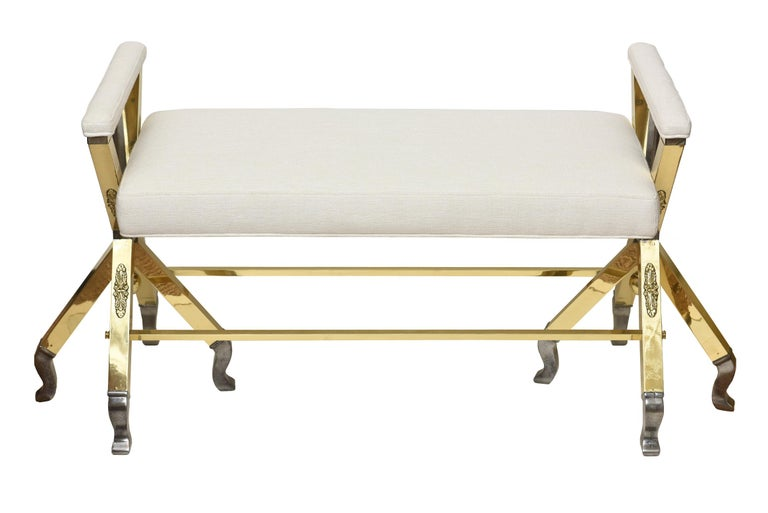Brass and Steel Upholstered 3-Legged Bench Mid-Century Modern For Sale 4