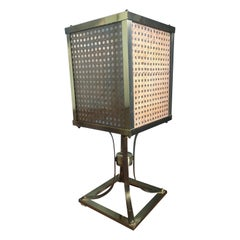 Mid-Century Modern Brass and Straw Table Lamp, 1970s
