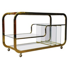 Mid-Century Modern Brass Bar Cart Milo Baughman Style