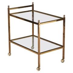 Mid Century Modern Brass Bar Cart with Glass Shelves