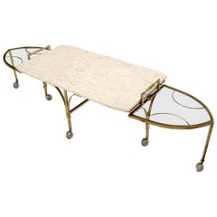 Mid-Century Modern Brass Base on Wheels Travertine Top Expandable Coffee Table