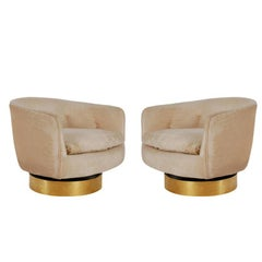Mid-Century Modern Brass Base Swivel Barrel Back Lounge Chairs by Milo Baughman