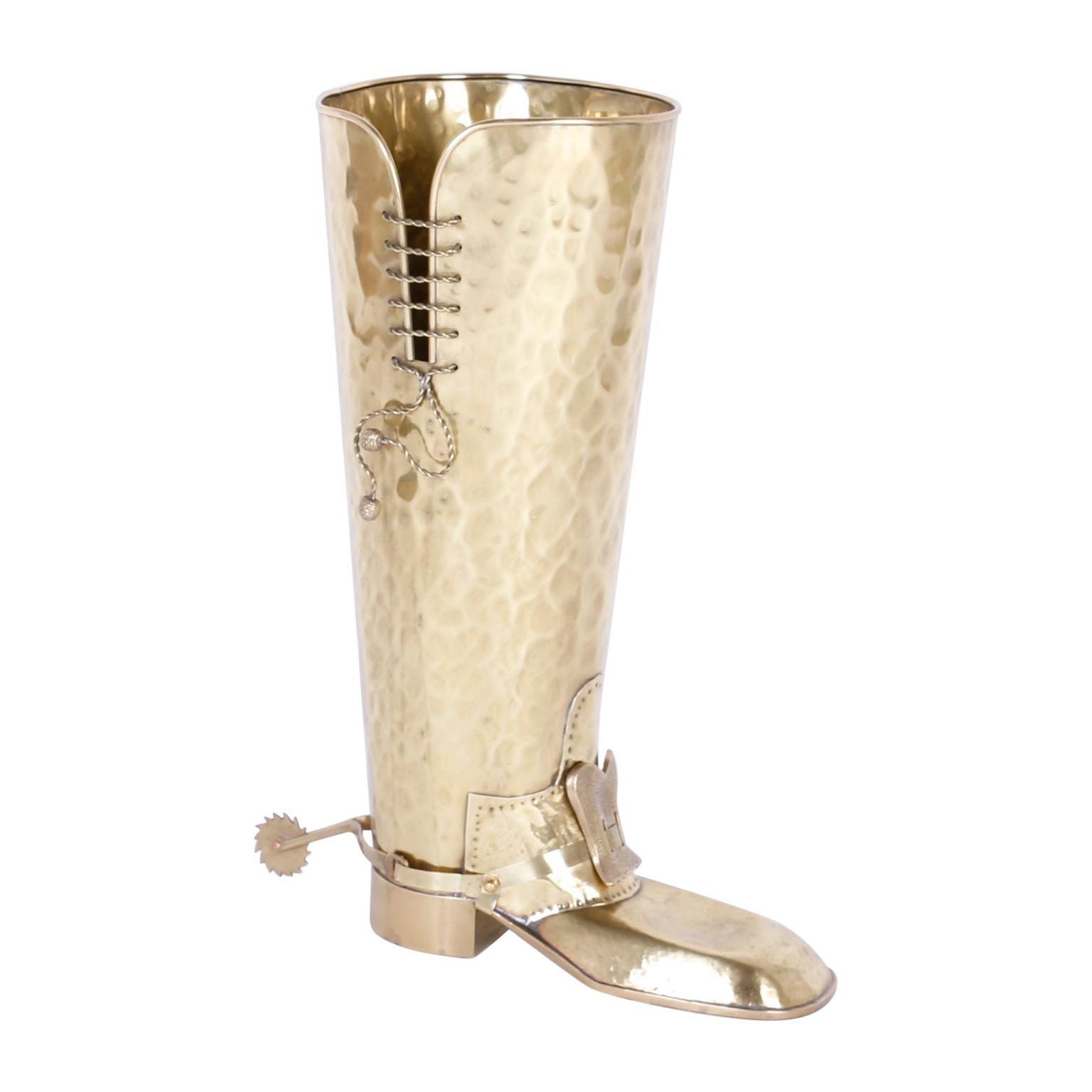 Mid-Century Modern Brass Boot Umbrella Stand