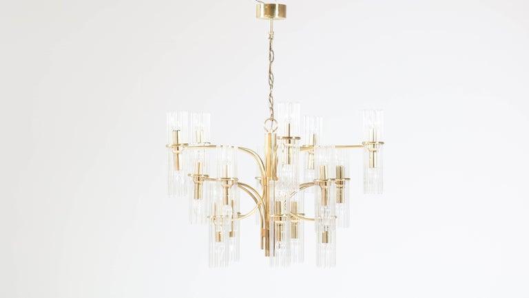 Mid-Century Modern Brass Chandelier by Gaetano Sciolari for Lightolier, 1960s For Sale 1