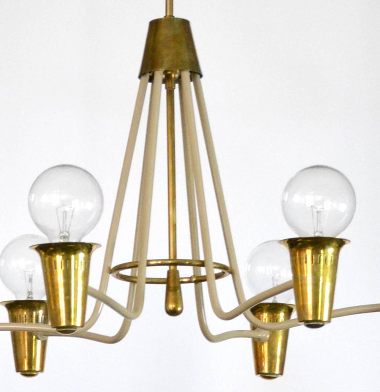 Italian Mid-Century Modern Brass Chandelier For Sale