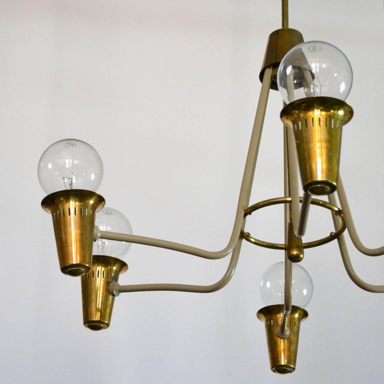 Painted Mid-Century Modern Brass Chandelier For Sale