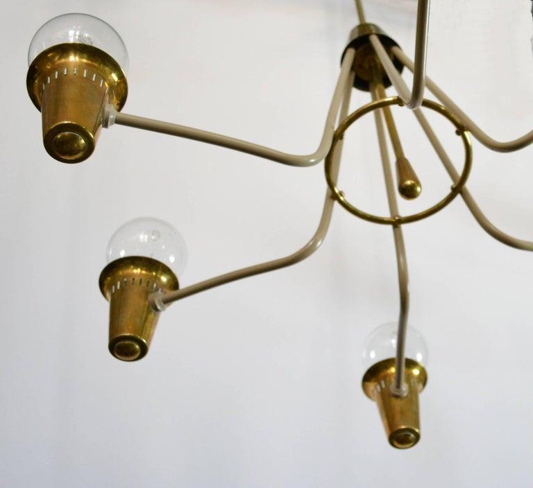 20th Century Mid-Century Modern Brass Chandelier For Sale
