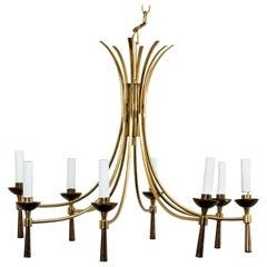 Mid-Century Modern Brass Chandelier