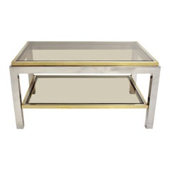 Mid-Century Modern Brass Chrome Coffee Table by Willy Rizzo Signed 1970s Italy