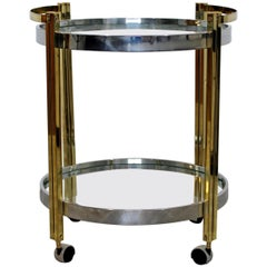 Mid-Century Modern Brass Chrome Glass 2-Tier Trolley Bar Serving Cart, 1970s