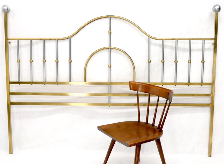 Mid-Century Modern chrome and brass possibly by Mastercraft king size headboard bed. Nice big sphere shape finials.