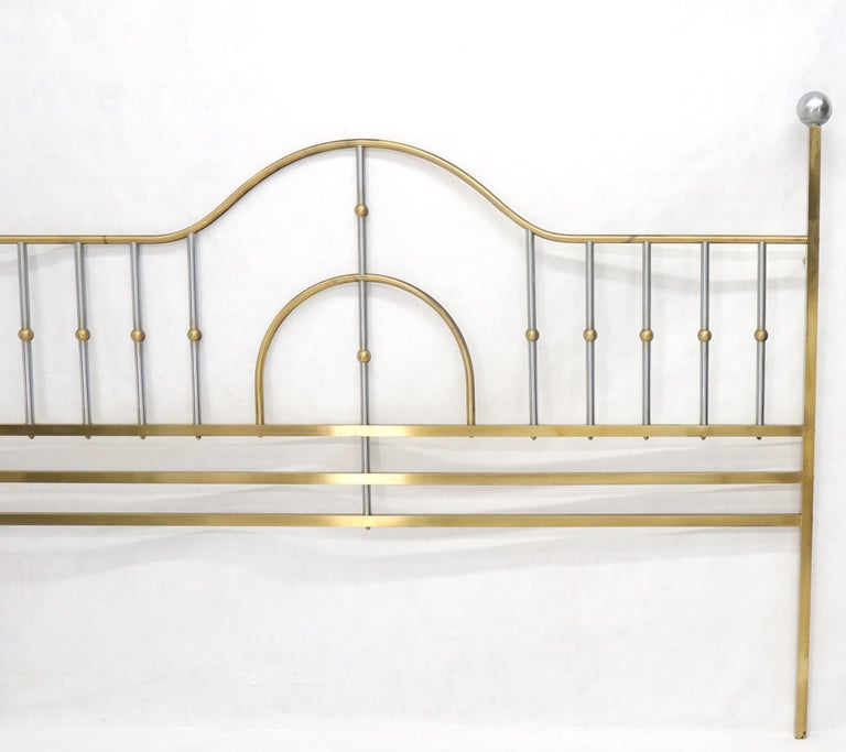 American Mid-Century Modern Brass and Chrome King Size Headboard For Sale