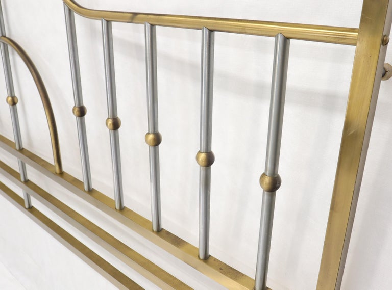 20th Century Mid-Century Modern Brass and Chrome King Size Headboard For Sale