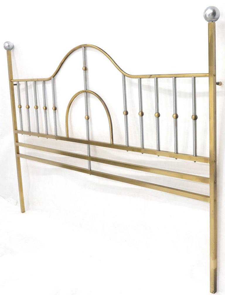 Mid-Century Modern Brass and Chrome King Size Headboard For Sale 1