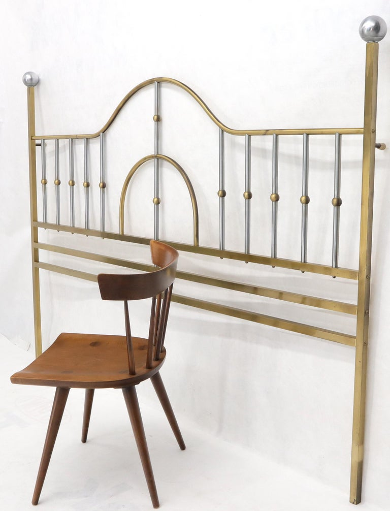 Mid-Century Modern Brass and Chrome King Size Headboard For Sale 2