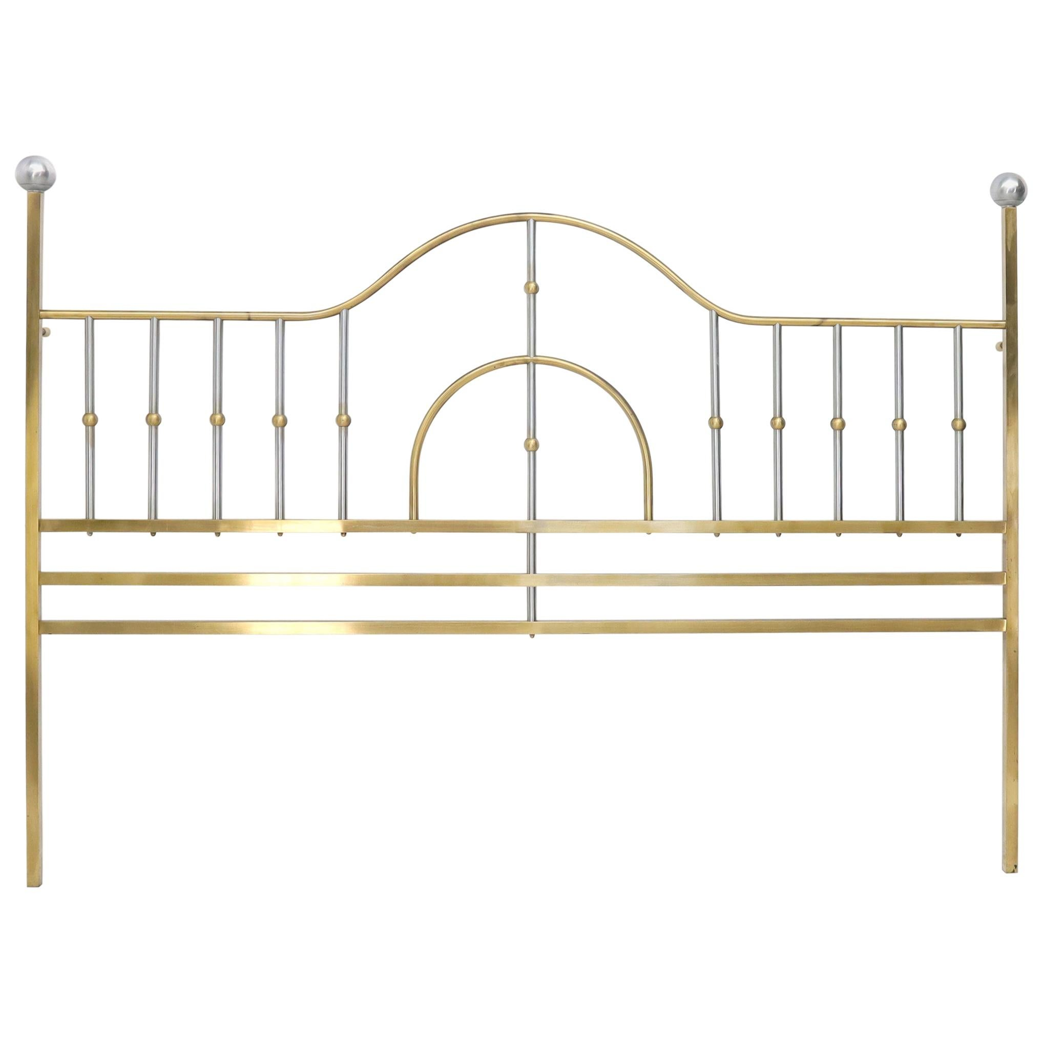 Mid-Century Modern Brass and Chrome King Size Headboard