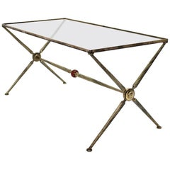 Mid-Century Modern Brass Coffee Table by Maison Bagues Attributed, 1950, France