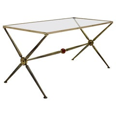 Mid-Century Modern Brass Coffee Table Maison Bagues Attributed, 1950, France