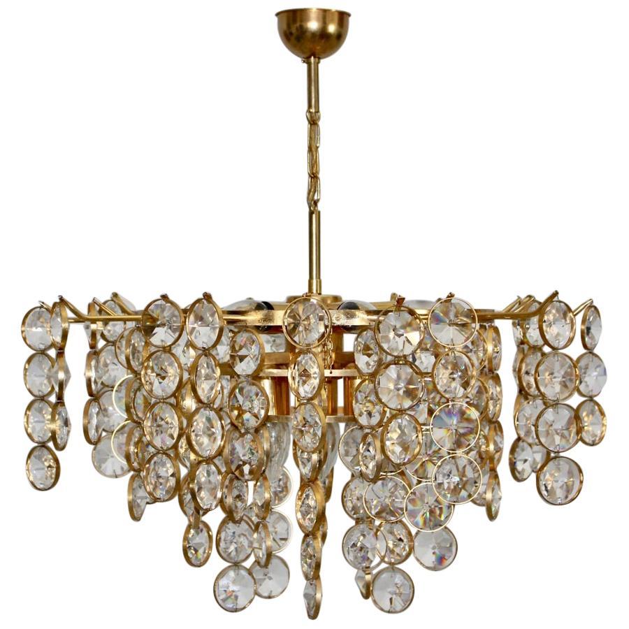 Mid-Century Modern Brass Crystal Vintage Chandelier Gaetano Sciolari Italy 1960s