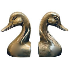 Mid-Century Modern Brass Duck Bookends