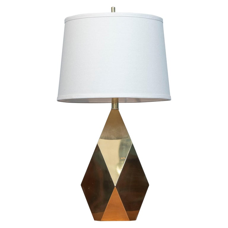 Mid-Century Modern Brass Faceted Lamp For Sale