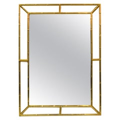 Mid-Century Modern Brass Faux Bamboo Wall Mirror, Italy